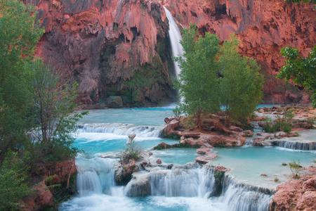 indian creek: Havasupai Waterfall, Arizona, USA Stock Photo
