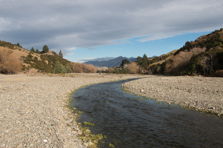 riverine: Mountain river at New Zealand countryside