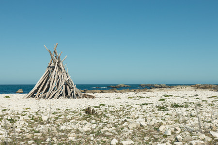 Shelter of branches on a deserted beach, New Zealand