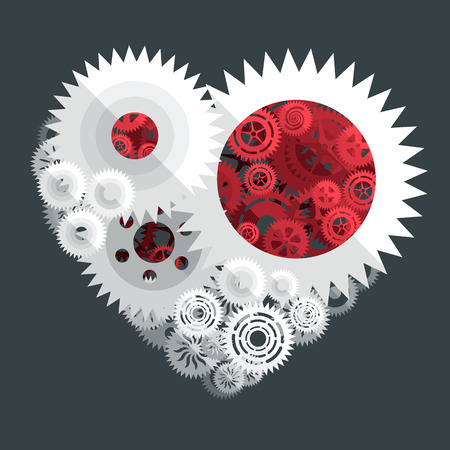 paper cut: red and white heart paper cut gear flat illustration