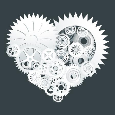 cut paper: White gear heart paper cut Illustration
