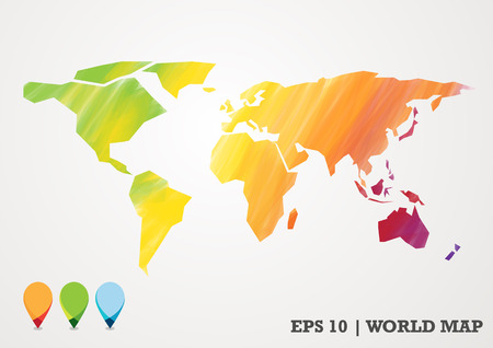 paper cut: colorful paper cut world map water color abstract with pin Illustration