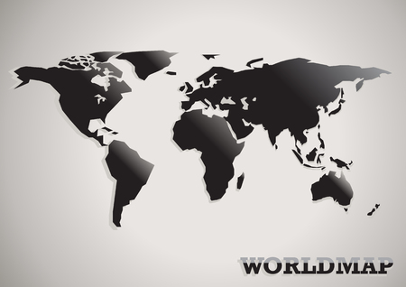 paper cut: paper cut world map black white and grey abstract