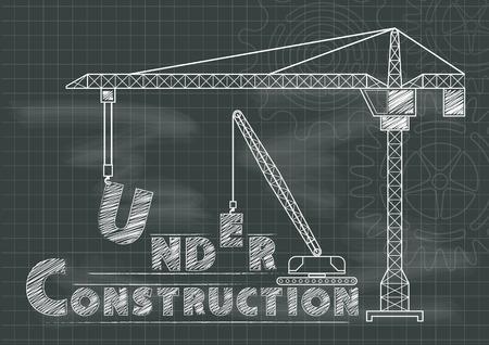 Under Construction sign crane gears and cogs chalkboard blueprint
