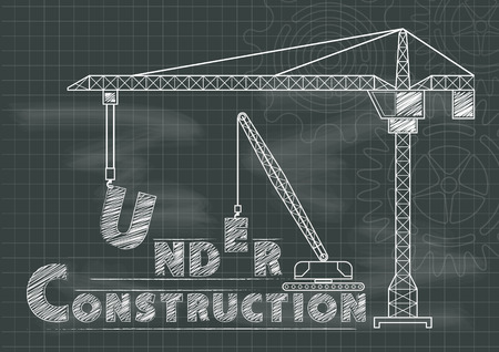 Under Construction teken kraan toestellen en radertjes bord blauwdruk Stock Illustratie