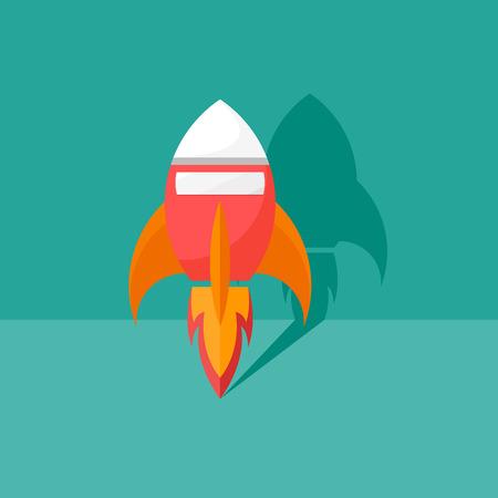 rocketship: modern flat rising rocket icon to the space vector illustration Illustration
