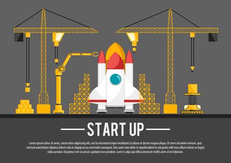 Flat spaceship construction start up vector illustration