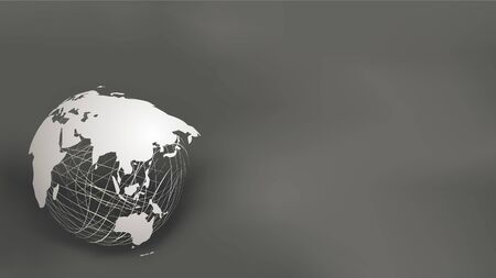 World map paper cut style on white mesh sphere on dark grey and black background, with copy space for text. EPS10, vector and illustration. Asia and Australia. Asian map.