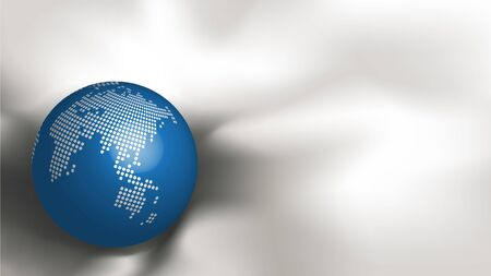 Abstract metallic dotted world map on blue sphere on white fabric silk background with copy space for text. Ratio 1920x1080 px. EPS10, Vector,  Illustration. Çizim