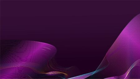 Abstract gradient purple wave mesh on dark purple background with copy space for text. EPS10, vector and illustration.