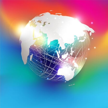 White paper cut style world map on abstract mesh sphere and glitter  put on colorful gradient background. EPS10, vector and illustration. Asia.