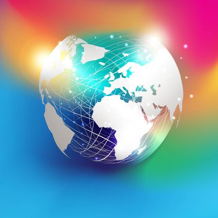 White paper cut style world map on abstract mesh sphere and glitter  put on colorful gradient background. EPS10, vector and illustration. America, Europe, and Africa continents