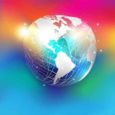 White paper cut style world map on abstract mesh sphere and glitter  put on colorful gradient background. EPS10, vector and illustration.America.