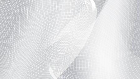 Abstract white curve wave mesh background. EPS10, vector and illustration. Çizim