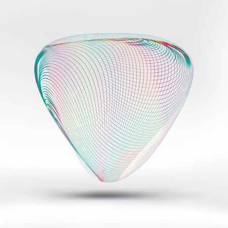 Abstract colorful curve mesh triangle on white fabric background. EPS10, vector and illustration.