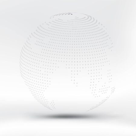Abstract black dotted sphere on white fabric background. EPS10, vector and illustration.