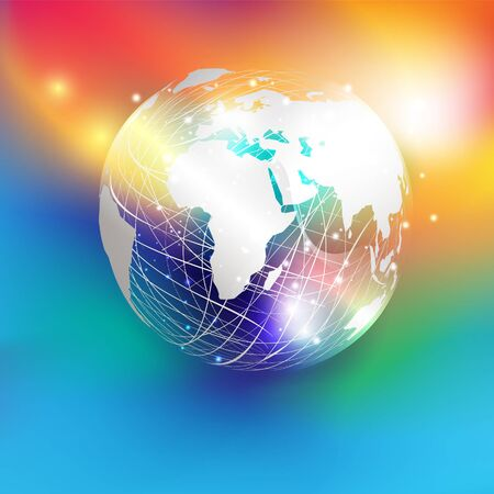 White paper cut style world map on abstract mesh sphere and glitter  put on colorful gradient background. EPS10, vector and illustration. Europe and Africa continents.