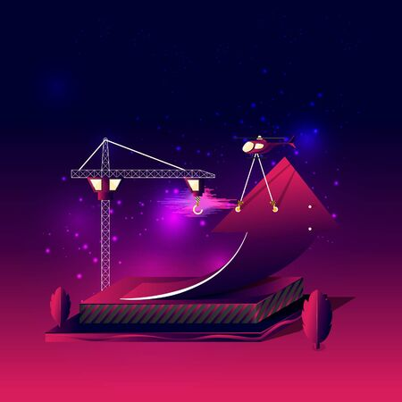 Construction of rising arrow carry by helicopter, surrounding by tree, sky clouds, and cluster of scattering stars, on gradient dark violet pink background. EPS10, vector and illustration. Çizim