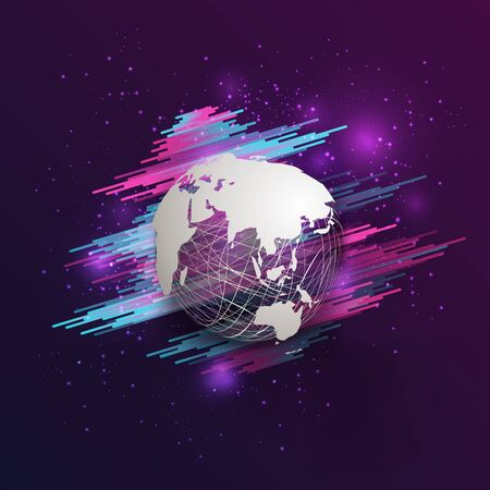 Modern abstract paper cut style world map on mesh sphere on gradient dark blue purple and pink background. EPS10, vector, illustration. Çizim