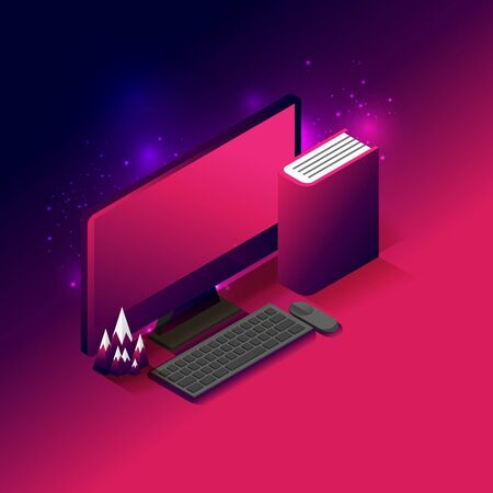 Abstract business concept. Modern gradient design. Computer desktop, book and mountain model place on gradient pink and dark blue background. EPS10, vector and illustration.