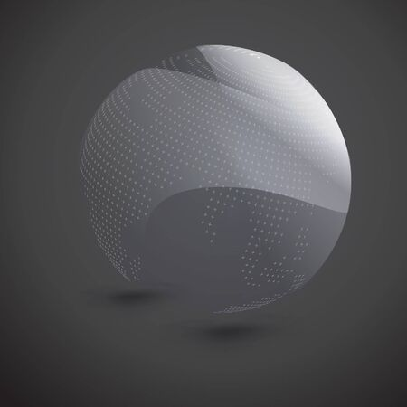Abstract dotted sphere on dark background. RPS10, vector and illustration. Çizim