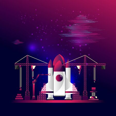 EPS10, vector and illustration. Construction of spaceship. Technology, transportation and  business concept. With copy space for text.