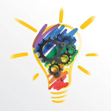 Colorful abstract concept of Creativity. Rainbow lamp bulb hand drawing and black gears and cogs on top. EPS10, VECTOR, illustration.