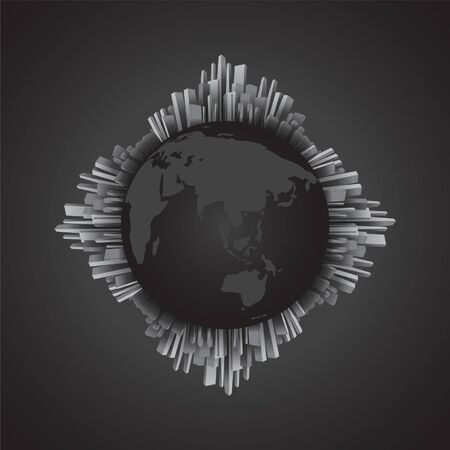 Abstract black and white building around the globe, world map. Monochrome theme. EPS10, VECTOR, Illustration. Çizim