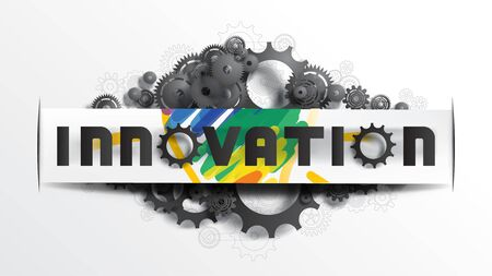 INNOVATION word on paper cut label, on black gears and cogs on sketching gears and cogs blueprint background. EPS10, VECTOR, Illustration. Size ratio 1920x1080 px.