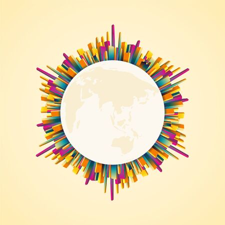 Abstract colorful building around the globe, world map. Monotone theme. EPS10, VECTOR, Illustration.