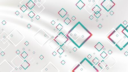 Abstract gradient red and green geometric squares and white square on white fabric silk background. EPS10, vector, illustrator.