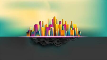 Big city surround by colorful skyscraper building on top of realistic black gears and cogs. Abstract concept. EPS10, VECTOR, illustration. Size ratio 1920x1080 px.