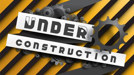 Under Construction sign decorated by black gears and cogs on yellow black stripes background. EPS10, VECTOR, Illustration. Size ratio 1920x1080 px. Çizim
