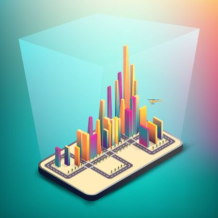Smart city model, abstract concept. Group of colorful building on smartphone, connecting with glitters flare. EPS10, Vector, Illustration.