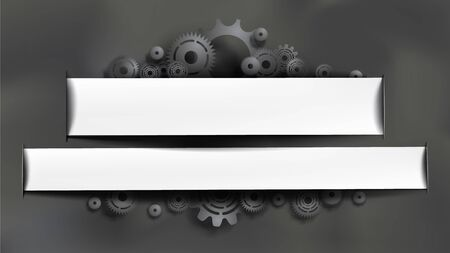 Template paper cut style black gears and cogs on gray chalkboard background. White frame for text editing. Size ratio 1920x1080px. EPS10, VECTOR, Illustration.