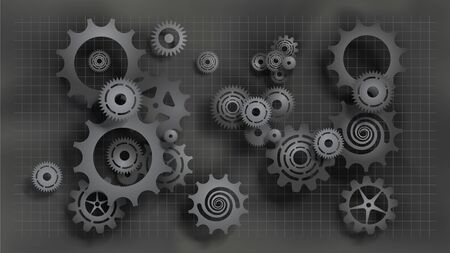 Paper cut style realistic black gears and cogs on gray blueprint chalkboard background. Size ratio 1920x1080px. EPS10, VECTOR, Illustration. Çizim