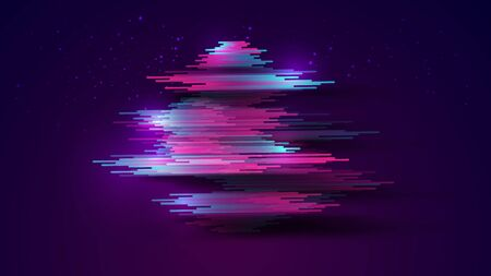 Abstract realistic gradient neon blue pink stripes with shadow on gradient dark blue purple with glitters star background. Size ratio 1920x1080 px. EPS10, vector and illustration. Çizim