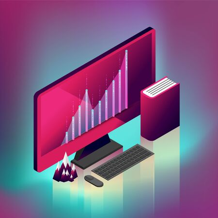 Fluctuated graph desktop computer. EPS10, Vector, illustration.