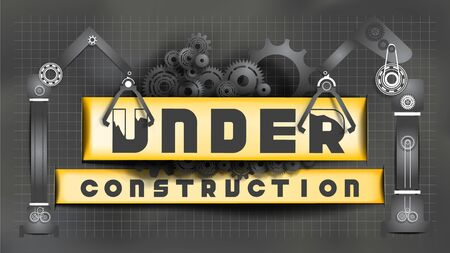 Under Construction sign decorated by black gears and cogs and black cranes paper cut on chalkboard blueprint background. EPS10, VECTOR, Illustration. Size ratio 1920x1080 px.