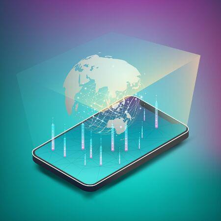 Hologram present world map, from smartphone. EPS10, Vector, Illustration