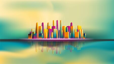 Reflection of skyscraper city on water. Smart city. EPS10, VECTOR, illustration. Size ratio 1920x1080 px.