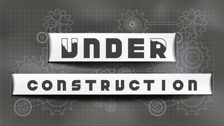 Under construction signage paper cut style on chalkboard gears and cogs background. EPS10, Vector, Illustration. Size ratio 1920x1080 px.