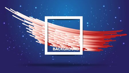 Abstract gradient white and red stripes with shadow on gradient blue background and glitters star. Size ratio 1920x1080 px. EPS10, vector, illustration.