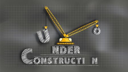 Under Construction. Chalkboard mixed with paper cut technique. EPS10, Vector, Illustration. Size ratio 1920x1080 px.