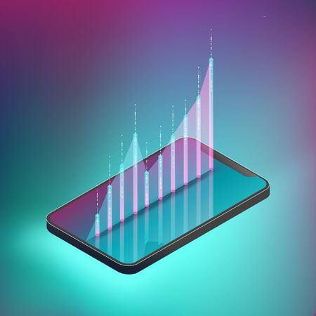 Fluctuated graph on smartphone. EPS10, Vector, illustration.