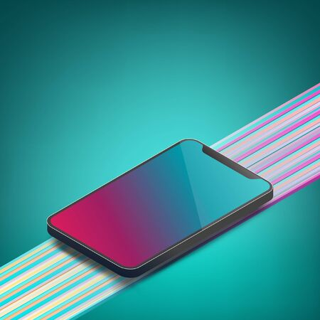 Isometric smartphone mockup with copy space for text. EPS10, Vector, Illustration.