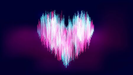 Abstract neon-like style, colorful gradient blue white pink heart shape on gradient dark blue purple background. Size Ratio 1920x1080 px. EPS10, vector, illustration. Çizim