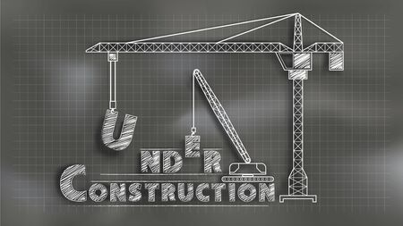 Under construction. Chalkboard style mixed with paper cut technique. Size ratio 1920x1080 px. EPS10, Vector, Illustration.