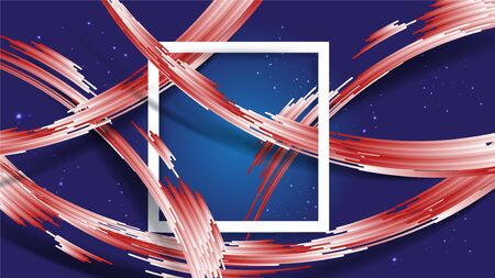 Abstract gradient white and red stripes with shadow on gradient blue background and glitters star, with white frame at center. Size ratio 1920x1080 px. EPS10, vector, illustration.