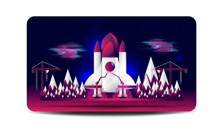 Spaceship launch construction site card. EPS10, Vector, Illustration.